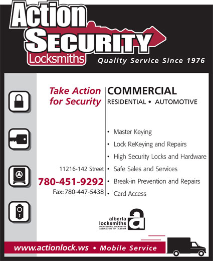 Action Security Locksmiths (780-451-9292) - Display Ad - Fax: 780-447-5438 780-451-9292 Fax: 780-447-5438 780-451-9292