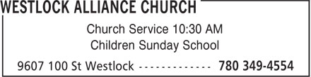 Alliance Church (780-349-4554) - Annonce illustrée======= - Church Service 10:30 AM Children Sunday School