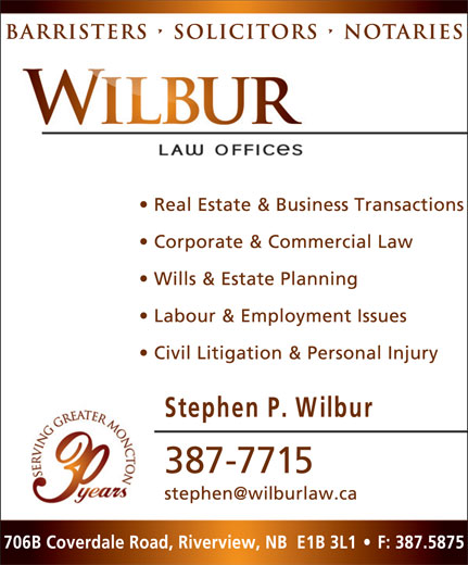 Wilbur Law Offices (506-387-7715) - Annonce illustrée======= -
