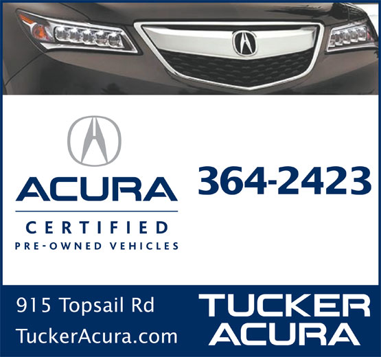 Tucker Acura Auto Sales Ltd (709-364-2423) - Display Ad - 364-2423 915 Topsail Rd TuckerAcura.com