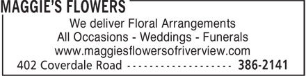 Maggie's Flowers (506-386-2141) - Annonce illustrée======= - We deliver Floral Arrangements All Occasions - Weddings - Funerals www.maggiesflowersofriverview.com