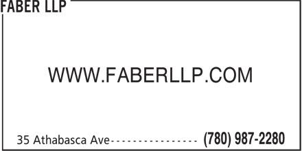 Faber LLP (780-987-2280) - Annonce illustrée======= - WWW.FABERLLP.COM