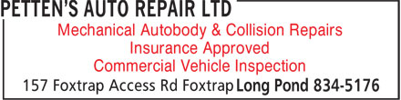 Petten's Auto Repair Ltd (709-834-5176) - Annonce illustrée======= - Mechanical Autobody & Collision Repairs Insurance Approved Commercial Vehicle Inspection