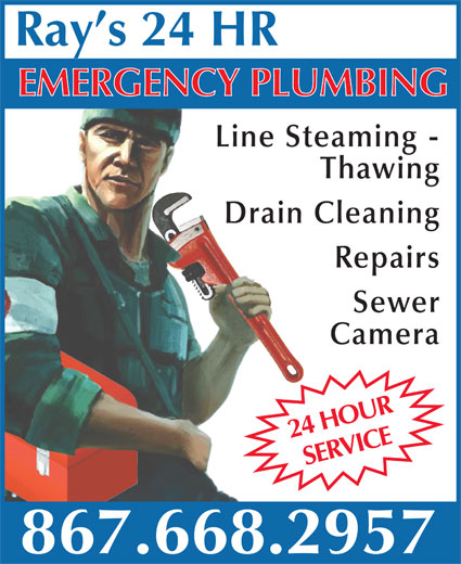 Gonderosa Inc (867-668-2957) - Annonce illustrée======= - MERGENCY PLUMBING Line Steaming - Thawing Drain Cleaning Repairs Sewer Camera HRO24 UR ICERay s 24 HRE 867.668.2957