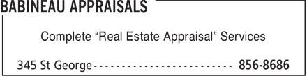 """Babineau Appraisal Ltd (506-856-8686) - Annonce illustrée======= - Complete """"Real Estate Appraisal"""" Services"""