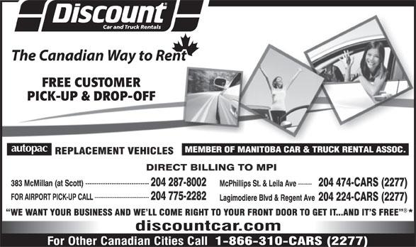 Discount Car and Truck Rentals (204-287-8002) - Display Ad -
