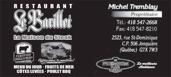 Restaurant Le Barillet (418-547-2668) - Display Ad -