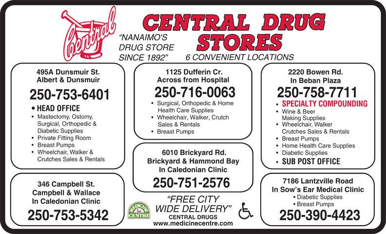 Central Drugs (250-753-6401) - Display Ad - NANAIMO'S DRUG STORE 6 CONVENIENT LOCATIONS SINCE 1892 2220 Bowen Rd.495A Dunsmuir St. 1125 Dufferin Cr. Albert & Dunsmuir Across from Hospital In Beban Plaza 250-716-0063 250-758-7711 250-753-6401 Surgical, Orthopedic & Home SPECIALTY COMPOUNDING HEAD OFFICE Health Care Supplies Wine & Beer Mastectomy, Ostomy, Wheelchair, Walker, Crutch Making Supplies Surgical, Orthopedic & Wheelchair, Walker Sales & Rentals Diabetic Supplies Crutches Sales & Rentals Breast Pumps Private Fitting Room Breast Pumps Home Health Care Supplies Wheelchair, Walker & Diabetic Supplies 6010 Brickyard Rd. Crutches Sales & Rentals Brickyard & Hammond Bay SUB POST OFFICE In Caledonian Clinic 7186 Lantzville Road 346 Campbell St. 250-751-2576 In Sow s Ear Medical Clinic Campbell & Wallace Diabetic Supplies FREE CITY In Caledonian Clinic Breast Pumps WIDE DELIVERY CENTRAL DRUGS 250-390-4423250-753-5342 www.medicinecentre.com