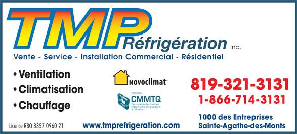 TMP Réfrigération Inc (819-321-3131) - Annonce illustrée======= -