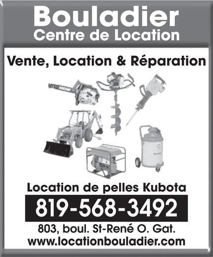 Bouladier Centre de Location (819-568-3492) - Annonce illustrée======= - Vente, Location & Réparation Location de pelles Kubota 819-568-3492 www.locationbouladier.com
