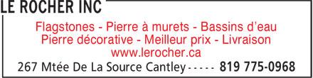 Le Rocher Natural Stone Supply (819-775-0968) - Annonce illustrée======= - Flagstones - Pierre à murets - Bassins d'eau Pierre décorative - Meilleur prix - Livraison www.lerocher.ca