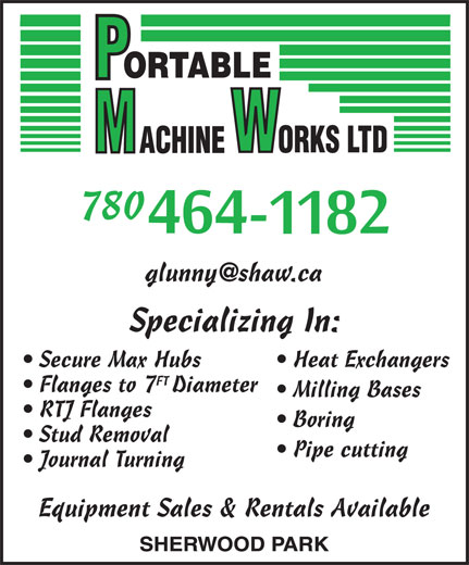 Portable Machine Works (780-464-1182) - Annonce illustrée======= - 780 780 Secure Max Hubs Heat Exchangers FT Flanges to 7Diameter Milling Bases RTJ Flanges Boring Stud Removal Pipe cutting Journal Turning Equipment Sales & Rentals Available Secure Max Hubs Heat Exchangers FT Flanges to 7Diameter Milling Bases RTJ Flanges Boring Stud Removal Pipe cutting Journal Turning Equipment Sales & Rentals Available