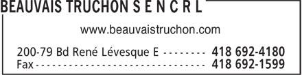 Beauvais Truchon S E N C R L (418-692-4180) - Annonce illustrée======= - www.beauvaistruchon.com