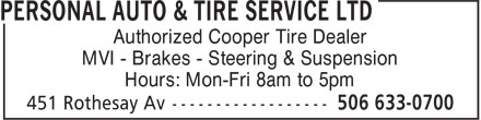 Ads Personal Auto & Tire Service Ltd