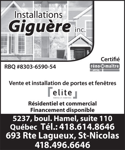 Installations André Giguère Inc (418-614-8646) - Display Ad - Installations Résidentiel et commercial Financement disponible Tél.: 418.614.8646 693 Rte Lagueux, St-Nicolas 418.496.6646