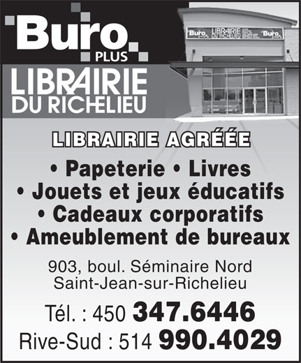 Librairie du Richelieu Inc (450-347-6446) - Display Ad -