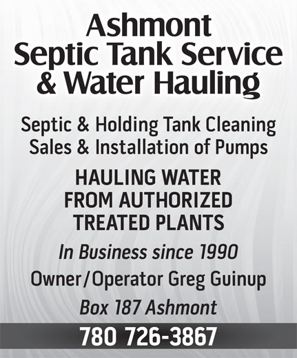 Ashmont Septic Tank Service & Water Hauling (780-726-3867) - Display Ad -