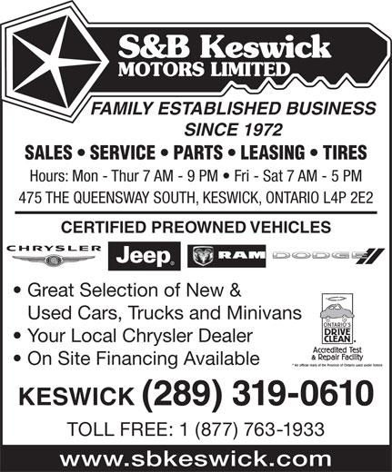 S b keswick motors limited 475 the queensway s for Family motors auto repair