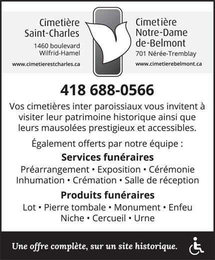 Cimetière St-Charles (418-688-0566) - Annonce illustrée======= -