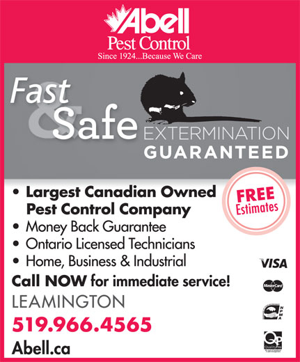 Abell Pest Control (519-966-4565) - Display Ad -