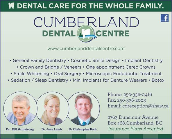 Cumberland Dental Centre (250-336-2006) - Display Ad - Dr. Christopher Becir