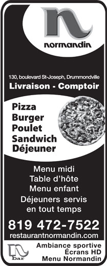 Restaurant Normandin (819-472-7522) - Display Ad -