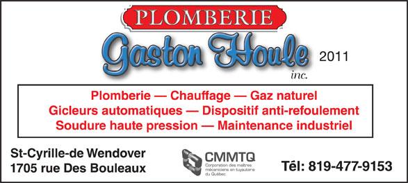 Plomberie Gaston Houle 2011 Inc (819-477-9153) - Annonce illustrée======= -