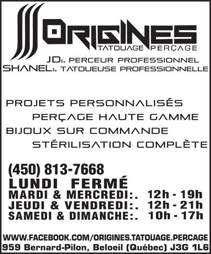 Origines Tatouage Et Peru00e7age - Beloeil QC - 959 Rue Bernard-Pilon   Canpages - FR