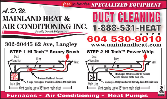 ADW Mainland Heat and Air Conditioning (604-530-9010) - Display Ad - Furnaces -  Air Conditioning -  Heat Pumps DuctDuct TransitionTransition VentVent Discharges compressed air all the way down the duct to the main line. !!!!!!!! Brushes all sides of the duct. A large rectangular brush is used inside the main lines. Discharges compressed air all the way down the main lines. Main LineMain Line Vent can be up to 35' from main ductVent can be up to 35' from main duct SPECIALIZED EQUIPMENT A.D.W. MAINLAND HEAT & DUCT CLEANING AIR CONDITIONING INC. 1-888-531-HEAT1-888-531-HEAT Family Owned & Operated 4 3 2 8 604 530-9010 302-20445 62 Ave, Langley www.mainlandheat.com STEP 2 Hi-Tech  Power WhipSTEP 1 Hi-Tech  Rotary Brush