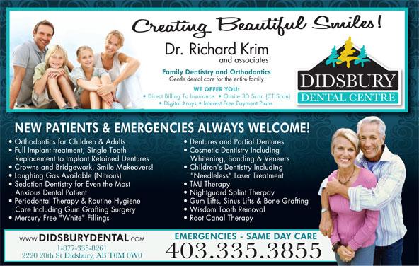 Didsbury Dental Centre (403-335-3855) - Annonce illustrée======= -