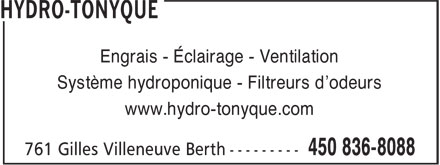 Hydro-Tonyque (450-836-8088) - Display Ad - Engrais - Éclairage - Ventilation Système hydroponique - Filtreurs d'odeurs www.hydro-tonyque.com