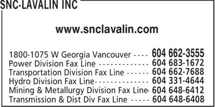 SNC-Lavalin Inc (604-662-3555) - Display Ad - www.snclavalin.com 604 648-6408 Transmission & Dist Div Fax Line -----