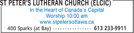 St Peter's Lutheran Church (ELCIC) (613-233-9911) - Annonce illustrée======= - In the Heart of Canada's Capital Worship 10:00 am www.stpetersottawa.ca
