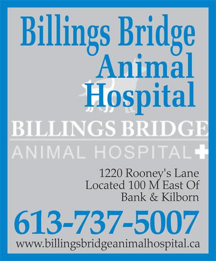 Billings Bridge Animal Hospital (613-737-5007) - Annonce illustrée======= - 1220 Rooney's Lane Located 100 M East Of Bank & Kilborn 613-737-5007 www.billingsbridgeanimalhospital.ca 1220 Rooney's Lane Located 100 M East Of 613-737-5007 www.billingsbridgeanimalhospital.ca Bank & Kilborn