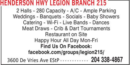 Ads Henderson Hwy Legion Branch 215