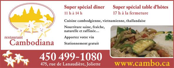 Restaurant Cambodiana (450-755-6304) - Annonce illustrée======= - 450 499-1080