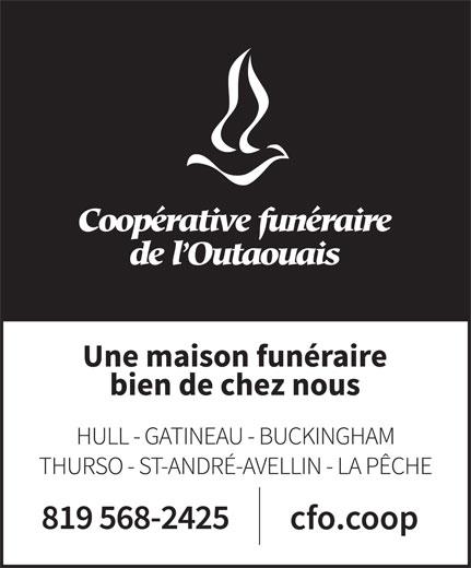 Coopérative Funéraire de l'Outaouais (819-568-2425) - Display Ad -