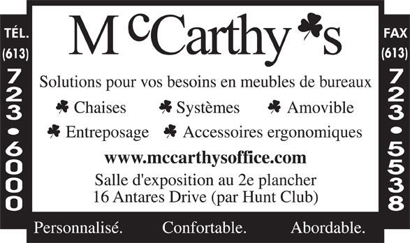 McCarthy's Office Furniture (613-723-6000) - Annonce illustrée======= -