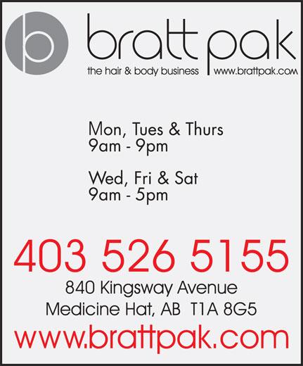 Bratt Pak The Hair & Body Business (403-526-5155) - Annonce illustrée======= -
