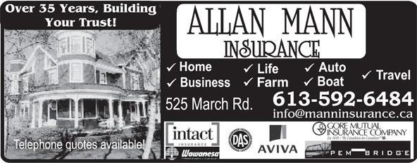 Allan Mann Insurance (613-592-6484) - Annonce illustrée======= - Over 35 Years, Building Your Trust! Farm