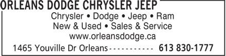 Metro Orleans Dodge ChryslerJeep Ram (613-830-1777) - Display Ad - Chrysler • Dodge • Jeep • Ram New & Used • Sales & Service www.orleansdodge.ca