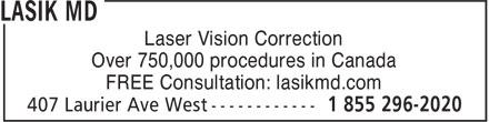 Lasik MD (1-855-296-2020) - Annonce illustrée======= - Laser Vision Correction Over 750,000 procedures in Canada FREE Consultation: lasikmd.com