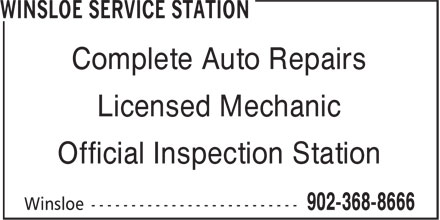 Winsloe Service Station (902-368-8666) - Annonce illustrée======= - Complete Auto Repairs Licensed Mechanic Official Inspection Station
