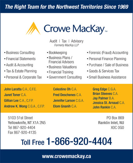 Crowe MacKay LLP (867-920-4404) - Display Ad - The Right Team for the Northwest Territories Since 1969 Audit Tax Advisory Small Business Assistance John Laratta C.A., C.F.E. Celestino Oh C.A. Greg Edge C.G.A. Brian Steeves C.A. Janet Toner C.A. Fred Deschenes C.A. Jay Palmer B.A. Gillian Lee C.A., C.F.P. Jennifer Larson C.G.A. Jessica St. Arnaud C.A. Andrew K. Wong C.G.A., C.F.P. Elom Gnanih C.A. John Rankin C.A. 5103 51st Street PO Box 869 Yellowknife, NT X1A 2N5 Ranklin Inlet, NU Tel 867-920-4404 X0C 0G0 Fax 867-920-4135 Toll Free 1-866-920-4404 www.crowemackay.ca Formerly MacKay LLP Business Consulting Forensic (Fraud) Accounting Bookkeeping Business Plans / Financial Statements Personal Finance Planning Financial Advisors Audit & Accounting Purchase / Sale of Business Business Valuations Tax & Estate Planning Goods & Services Tax Financial Training Government Consulting Personal & Corporate Tax
