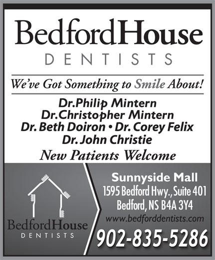 Bedford House Dentists (902-835-5286) - Annonce illustrée======= - New Patients Welcome