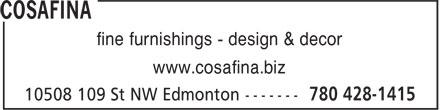 CosaFina (780-428-1415) - Display Ad - fine furnishings - design & decor www.cosafina.biz