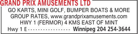 Grand Prix Amusements Ltd (204-254-3644) - Annonce illustrée======= -