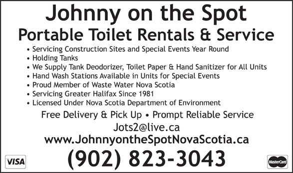 Johnny On The Spot (902-823-3043) - Display Ad -