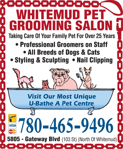 Whitemud pet grooming salon 5805 gateway blvd nw for A family pet salon