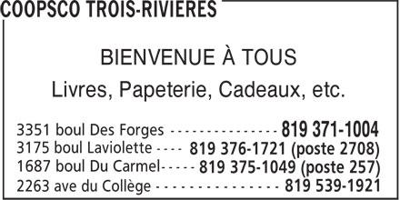 COOPSCO Trois-Rivières (819-371-1004) - Annonce illustrée======= - BIENVENUE À TOUS Livres, Papeterie, Cadeaux, etc.